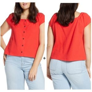 Madewell Texture & Thread Red Button-Front Top
